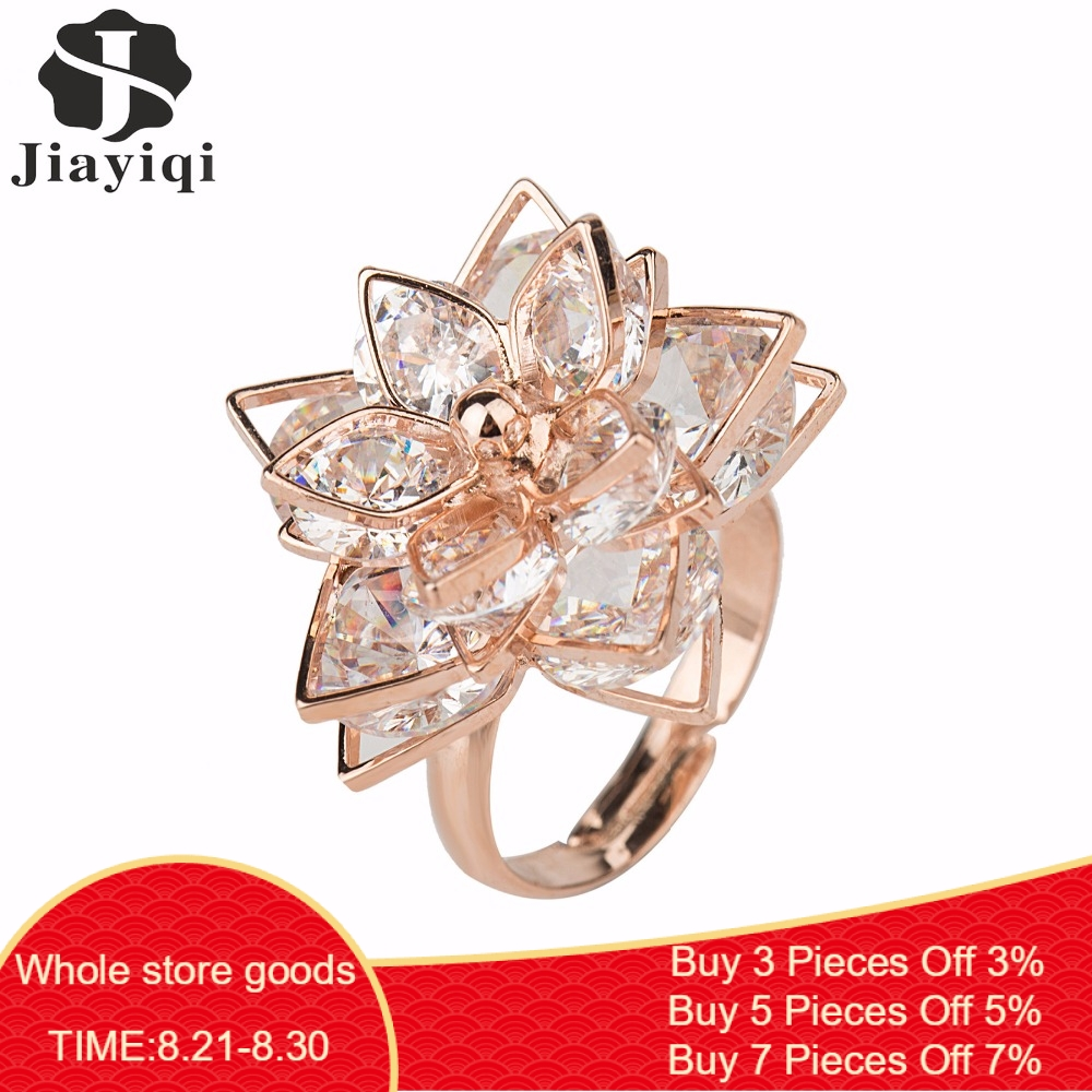 Jiayiqi Rings Jewelry Fashion Women for Best-Quality Summer Zircon Rose-Gold-Color New-Brand