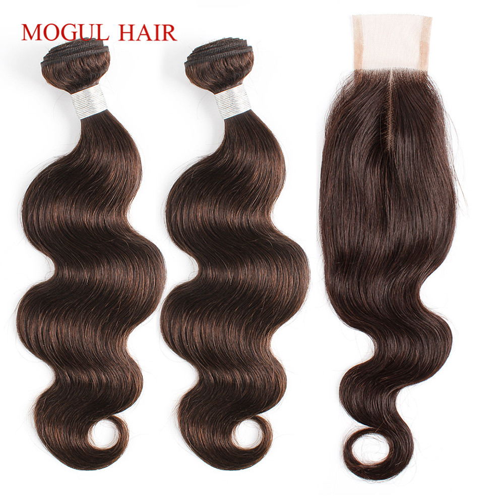 Mogul Hair Brazilian Body Wave Bundles With Kim K Closure 2/3 Bundles With 2x6 Closure Non Remy Human Hair Natural Color 4 Brown