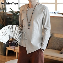 2019 china wind young men tops cotton costume hanfu male chinese mens clothes folk style long sleeve tang suit