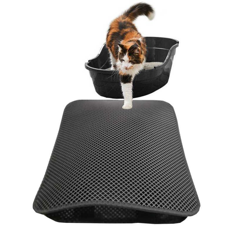 Kedi kumu matı-Çift Katmanlı Ped-Büyük Esnek için Yakalama Kutusu Pan-Siyah ve Gri