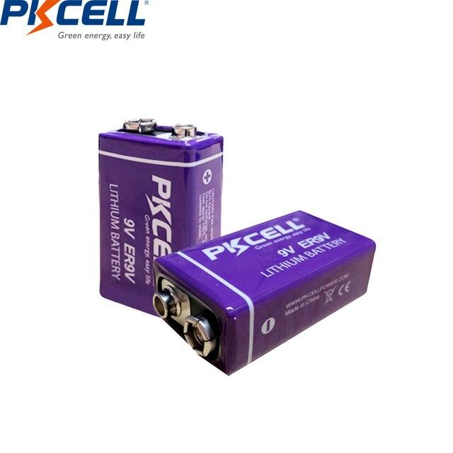 2 pièces PKCELL ER9V 1200mAh 9V Li SOCl2 Batteries au Lithium Bateria pour détecteur de fumée batterie lithium ion 6LR61 6f22thermome électronique