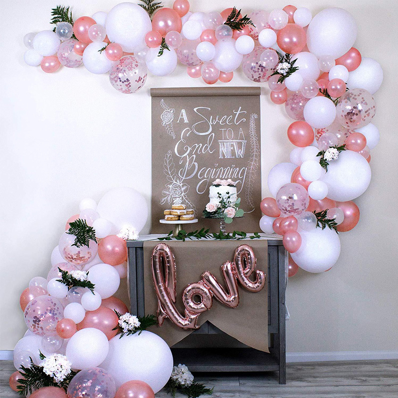 100pcs Wedding Balloons Arch Garland Decoration Kits Rose Gold Love Foil Ballon Baby Shower Birthday Party Supplies