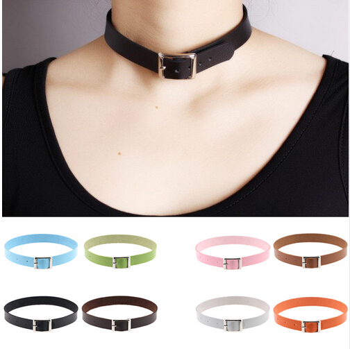 List Luke 12 colors Fine quality Harajuku Belt Collar Choker Necklace PU Leather Choker Punk Goth 41 2cm in Choker Necklaces from Jewelry Accessories