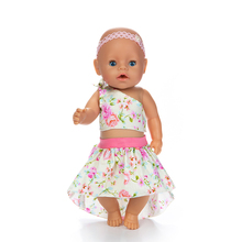 Doll Clothes Accessories Fit 18 inch 40- 43cm Born Baby Head Flower Hair Belt Three Suits For Birthday Gift