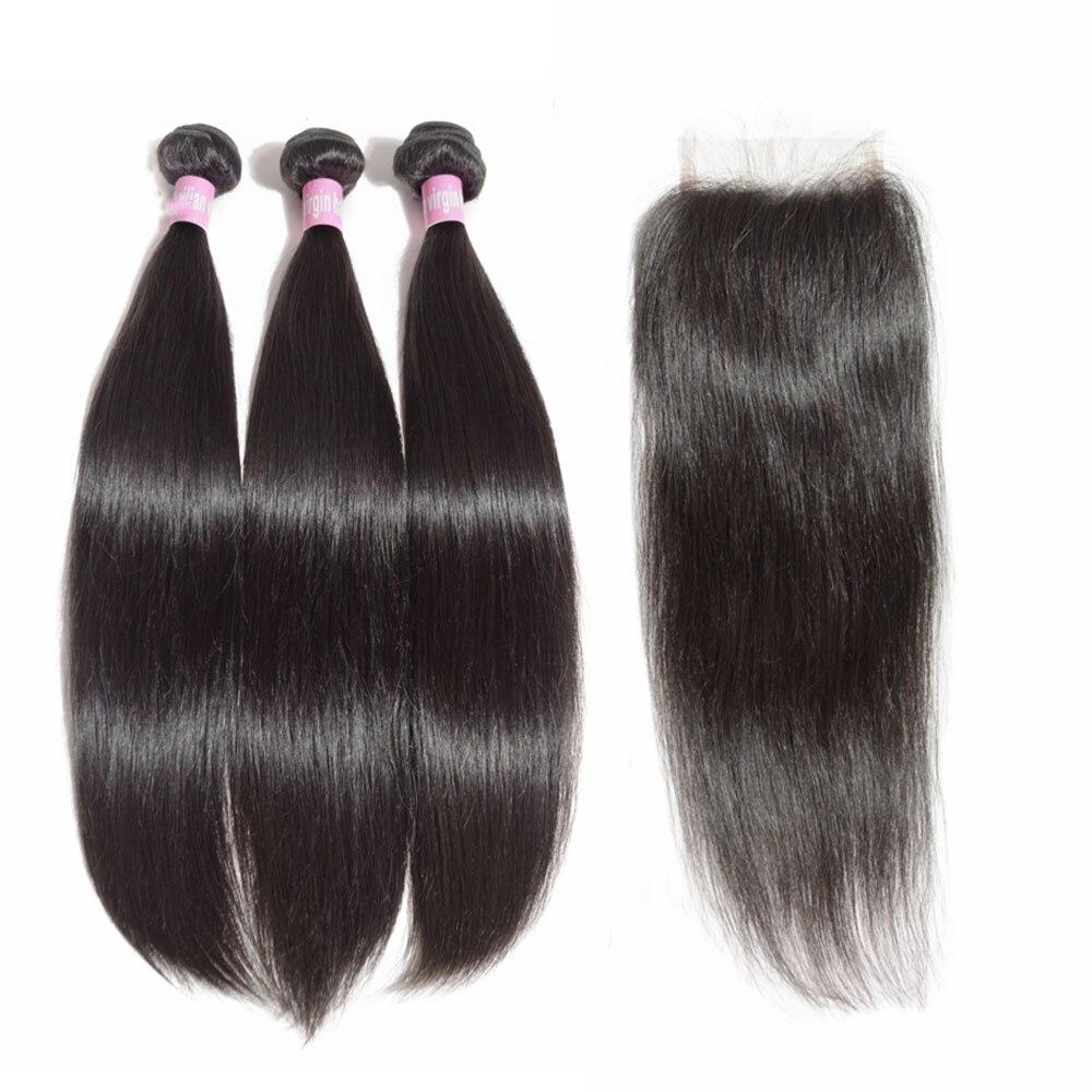 JayMay 5X5 Closure With Bundles Brazilian Hair Weave Bundles Straight With Closure 6x6 Lace Closure Extension Virgin Human Hair