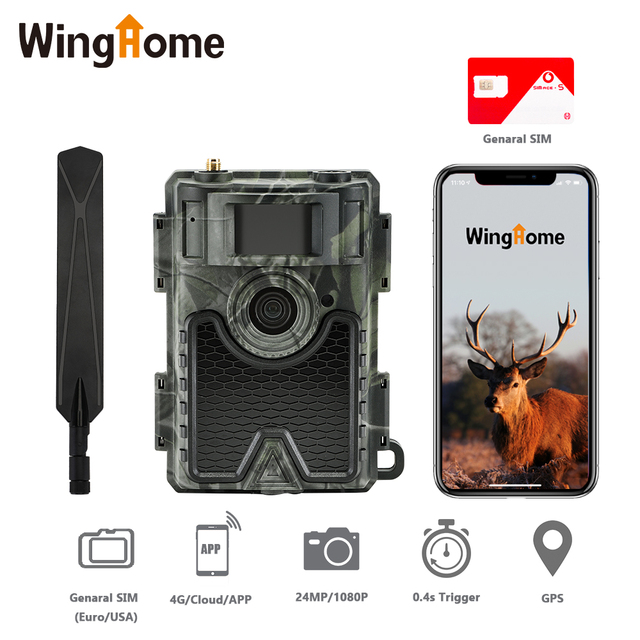 WingHome 480Ace 4G Hunting Trail Camera 24MP HD Cloud APP Camera 940nm IR Forest Wildlife Game Camera with Cloud system  GPS APP 1