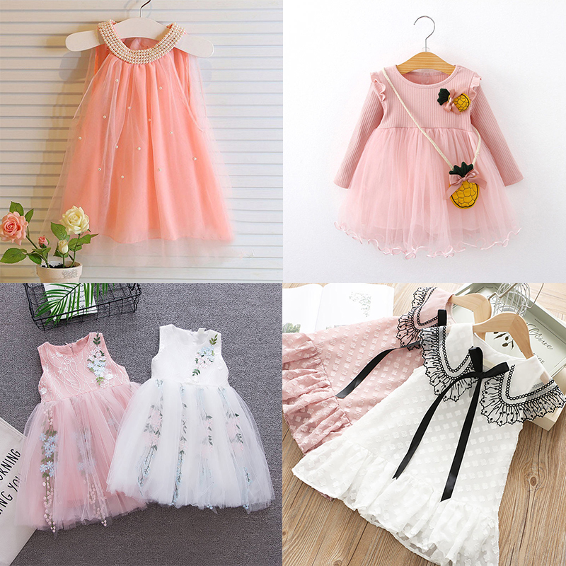 VOGUEON New Summer Beading Casual Dress Girl Embroidery Flower Girls Dresses Wedding Party Princess Tutu Lace Clothing Children