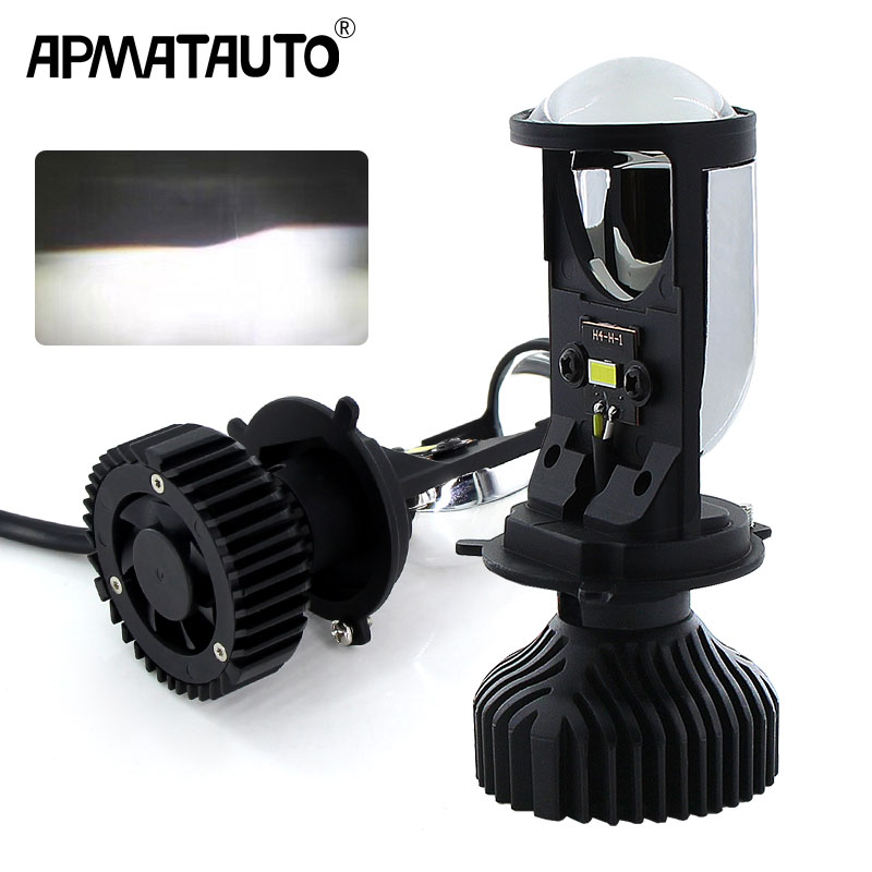 1Pcs H4 9003 Moto LED Headlight Bulbs Mini H4 Bi-LED Projector Lenses 5500K Car Motorcycle Light Accessories Styling Hi/Lo Beam