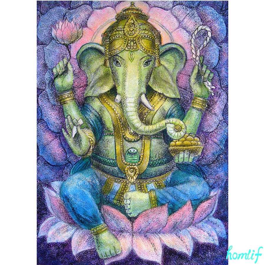Diy 5D diamante pintura diosa hind/ú Kit de punto de cruz bordado completo Ganesha elefante mosaico decoraci/ón arte 40X50Cm
