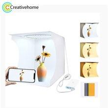 PULUZ 30cm מיני טבעת Lightbox תמונה תאורת סטודיו מיני ירי צילום אוהל תיבת ערכת שולחן העבודה לירות תיבת 6 צבעים תפאורות