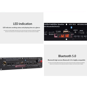 Image 3 - Mini módulo home áudio bluetooth amplificador tf uso amplo 3.7v 20w suporte fm mp3 microfone karaoke wav ape flac usb reverberação