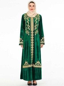 Image 1 - אלגנטי קטיפה שמלה מוסלמית נשים רקמת גדול נדנדה אונליין מקסי שמלת קימונו Jubah גלימת הדפסת העבאיה שמלות בגדים אסלאמיים
