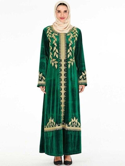 אלגנטי קטיפה שמלה מוסלמית נשים רקמת גדול נדנדה אונליין מקסי שמלת קימונו Jubah גלימת הדפסת העבאיה שמלות בגדים אסלאמיים