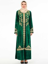 Zarif kadife müslüman elbise kadınlar nakış büyük salıncak A line Maxi elbise Kimono Jubah elbise baskı Abaya elbiseler İslam giyim