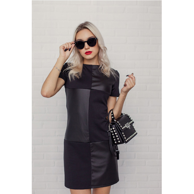 Women Vintage Leather Patchwork Elegant Office Dress 5