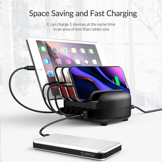 ORICO USB Charger Station Dock with Holder 40W 5V2.4A*5 USB Charging Free USB Cable for iphone ipad PC Kindle Tablet 2