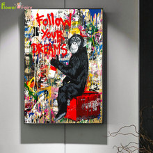 Abstract Graffiti Nordic Poster Gorilla Movie Stars Wall Art Canvas Painting Scientist Wall Pictures For Living Room Unframed