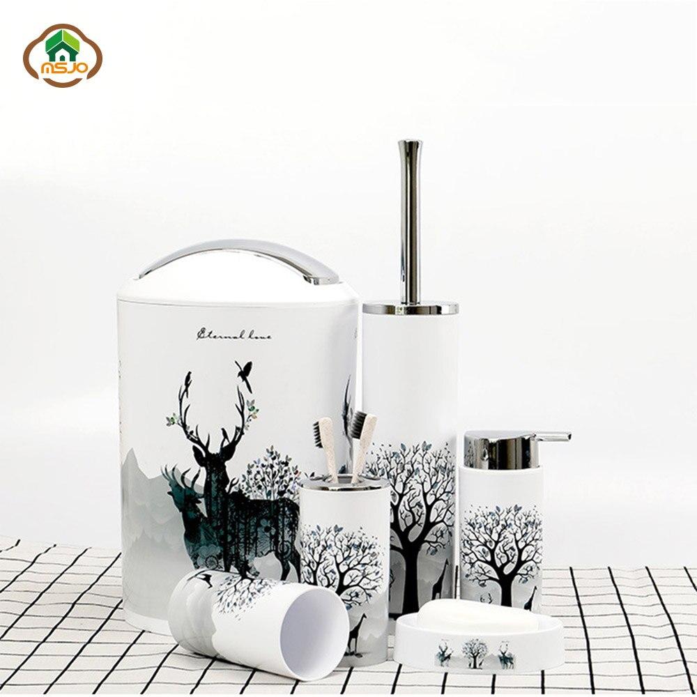 MSJO набор для ванной комнаты скандинавский домашний Декор печать 6 шт. Товары для ванной комнаты диспенсер для мыла держатель зубной щетки аксессуары для ванной комнаты