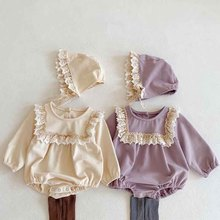 Romper Ruffle Long-Sleeve Girl Baby Baby-Girls Lace Spring Send-Cap Siamese Triangle