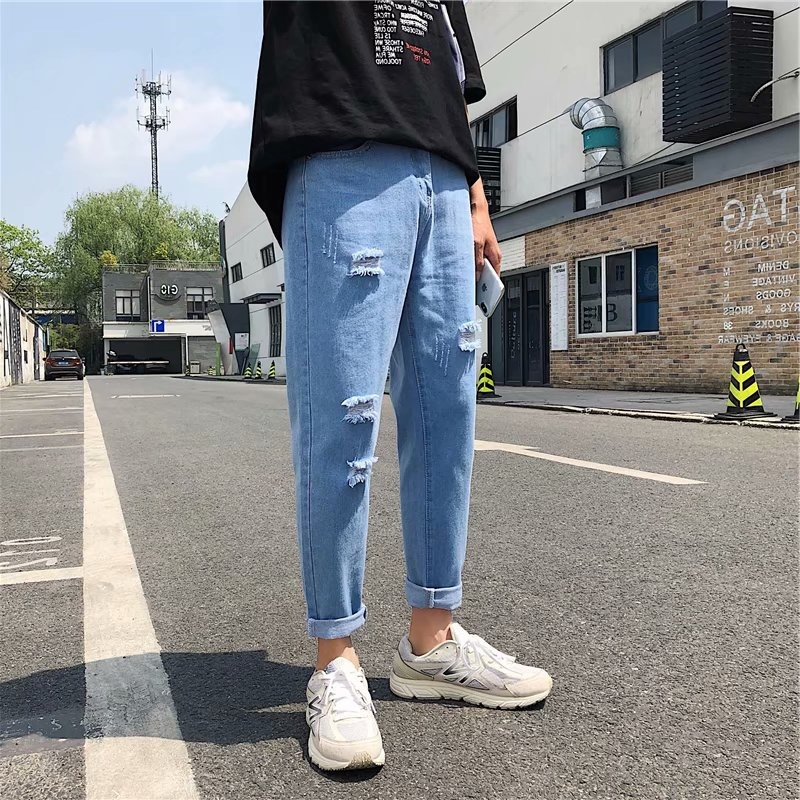 Summer Japanese-style Summer Jeans With Holes Skinny New Style Men's Slim Fit Korean-style Capri Pants Trend Students New Style