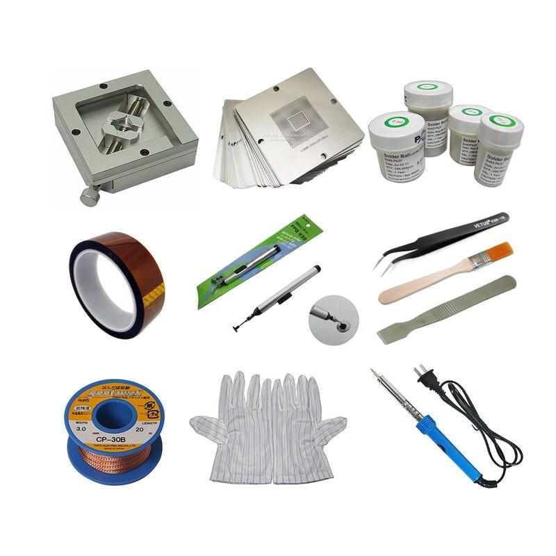 90mm Aluminium alloy BGA Reballing Station BGA Reball Kit Magnetism Lock 23pcs 90mm Universal Bga Stencil 4 pcs BGA solder ball