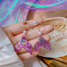 Fairy Glitter Purple Gradient Mermaid Drop Earrings for Women Gold Color Metal Clear Resin Pearl Pendant Earrings Party Jewelry natural purple pearl drop earrings 18k yellow gold women elegant simple fashion drop earrings for party