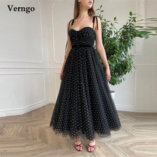 Verngo 2021 Black Polka Dots Tulle Short Prom Dresses With Velour Straps Sash Ankle Length Homecoming Party Gowns Lace/Zip Back