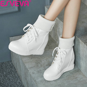 ESVEVA 2020 Women Boots Platform Shoes Wedges Lac Up Ankle Height Increasing Woman 34-43 Winter for Girls - discount item  47% OFF Women's Shoes