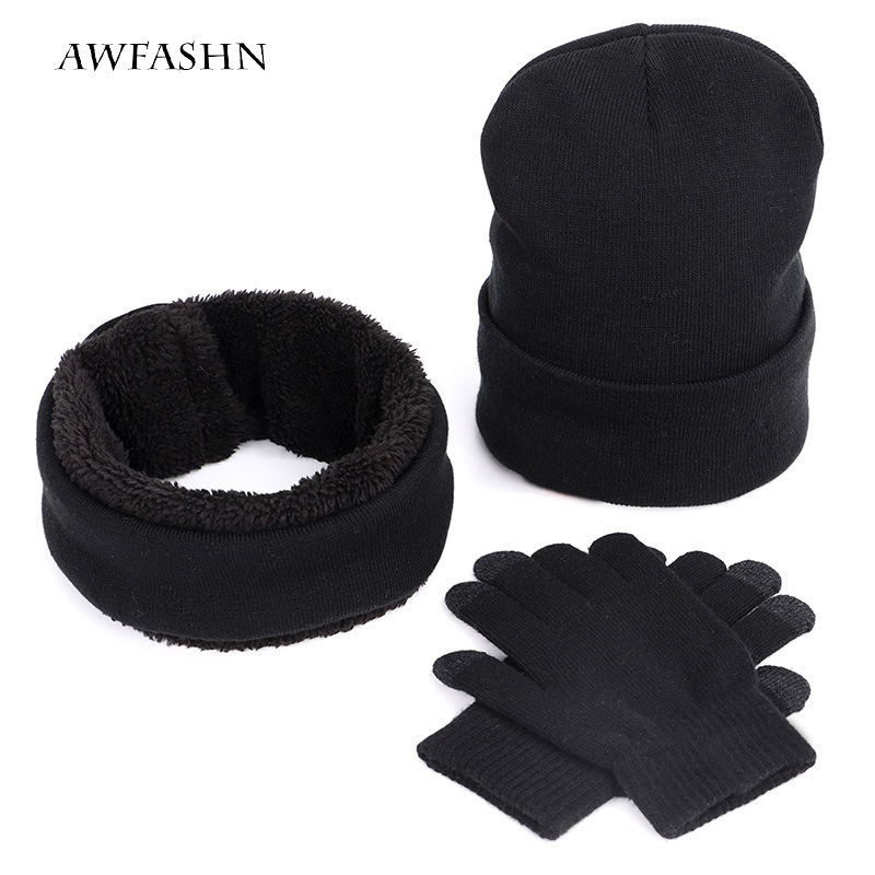 Fashion Men's Winter Cap Warm Thick Three-piece Cotton Plus Velvet Knit Hat Scarf Thickening Gloves Outdoor Skiing Casual New