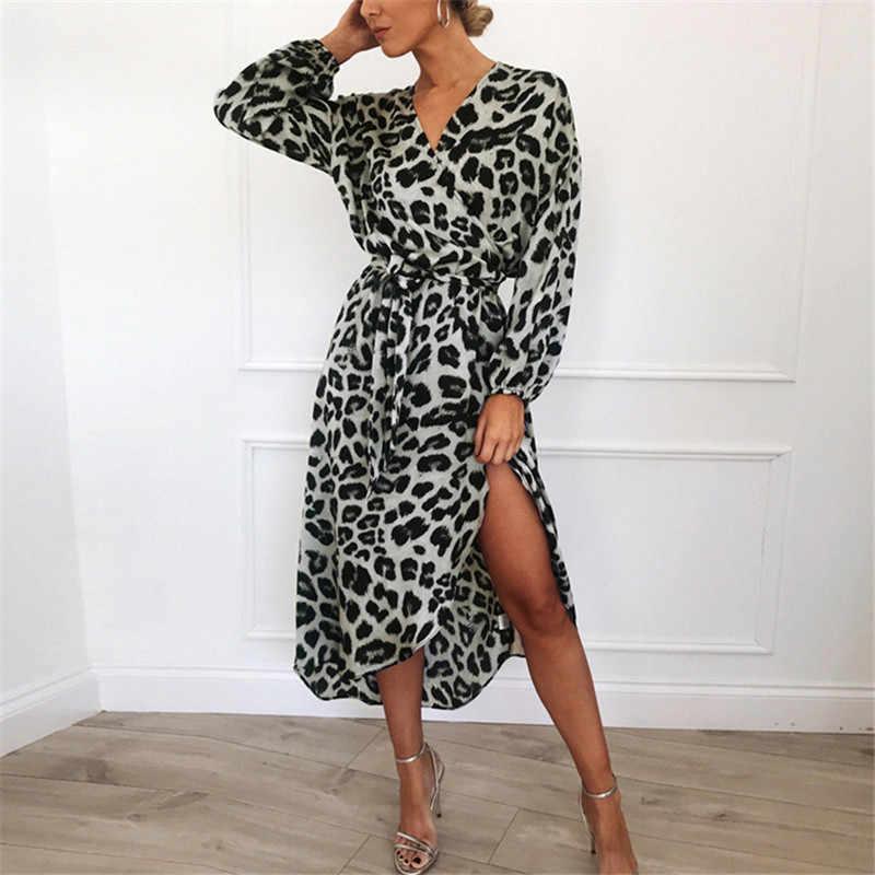 Leopard Jurk 2020 Vrouwen Vintage Lange Strand Jurk Losse Lange Mouw V-hals A-lijn Sexy Party Dress Vestidos De Fiesta