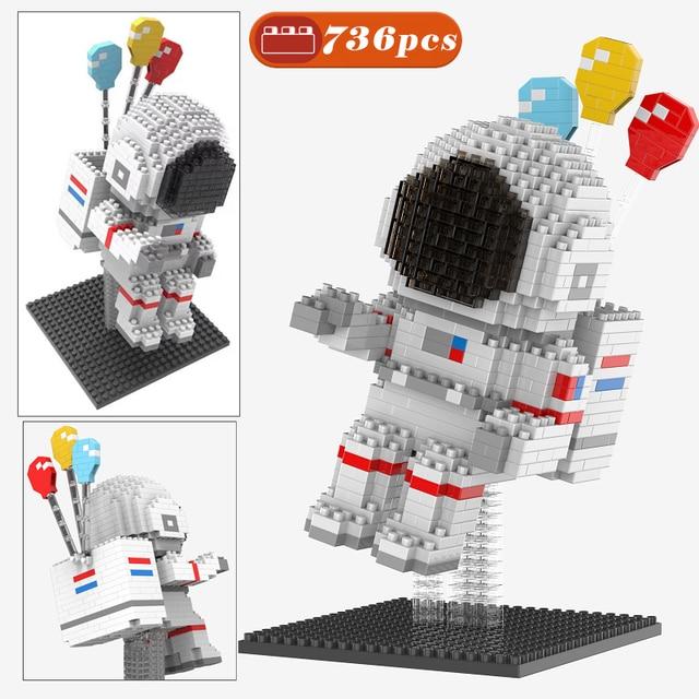 MOC 736pcs Astronaut Micro Building Blocks Spaceman Figures Cosmonaut Diamond Mini Brick Toys For Kids gifts 1