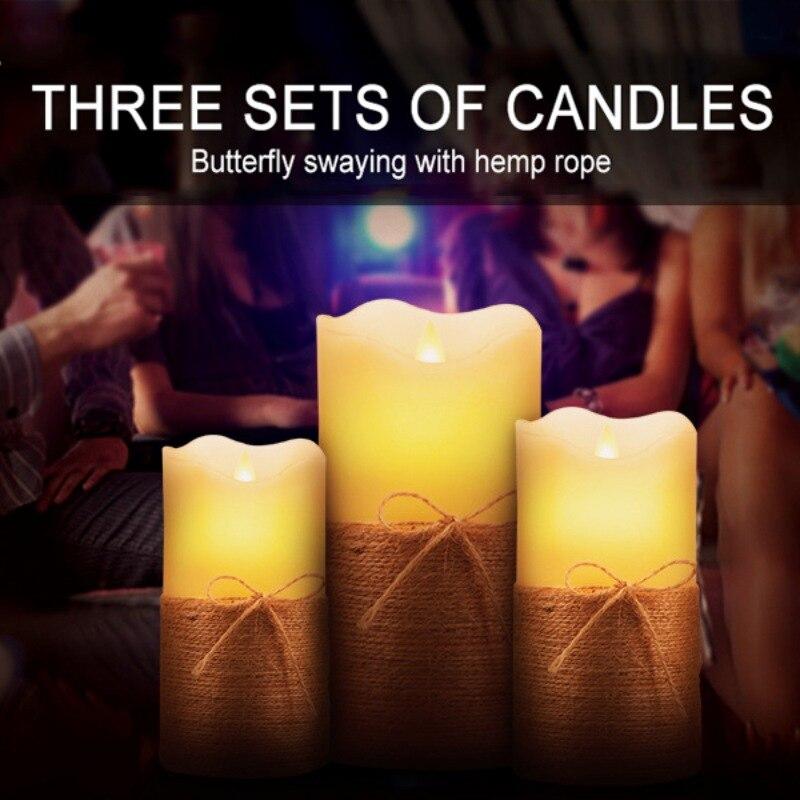 Bougies sans flamme mobiles de scintillement de cadeau de 3 pièces bougies LED bougies à piles pour la bougie de LED de lumière de décoration de désherbage de partie