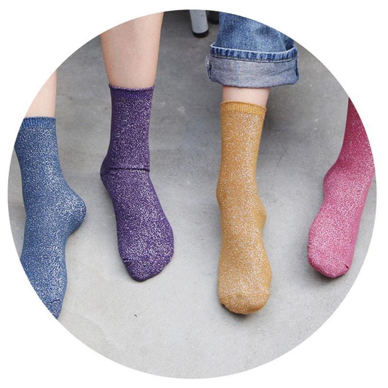 Women's Glitter Silk Socks 8 Colors Fashion Bright Retro Tide Gold And Silver Ankle Sandals Female Sock