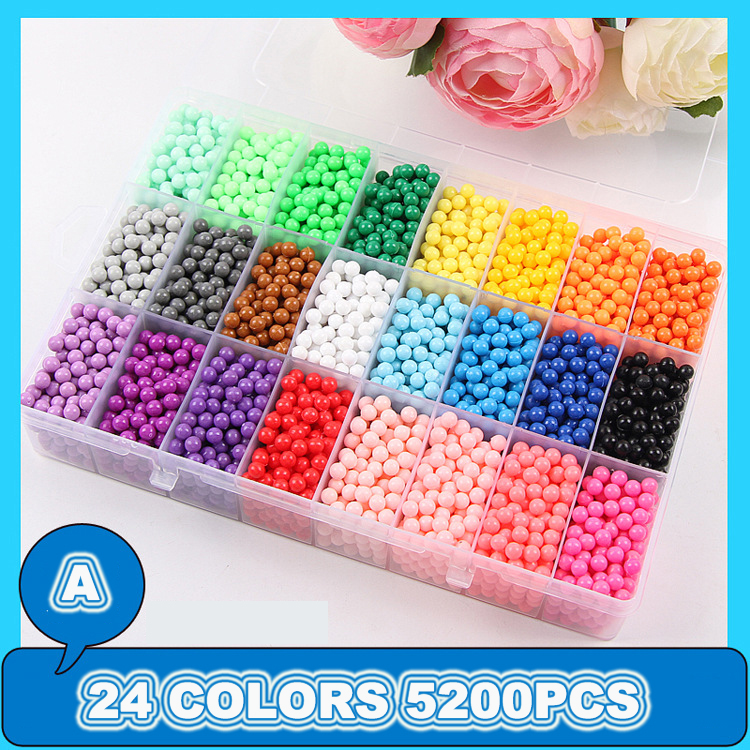 6000pcs 24colors Beads Puzzle Crystal Color DIY Water Spray Beads Set Ball Games 3D Handmade Kids Magic Toys For Children
