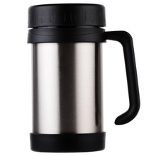 500Ml/17Oz Thermo Mug Stainless Steel Vacuum Flasks With Handle Thermo Cup Office Thermoses For Tea Insulated Cup Black+Silver+S(China)
