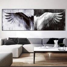 黒と白のレトロな羽絵画ポスターやプリントヴィンテージ天使の羽リビングルームの装飾