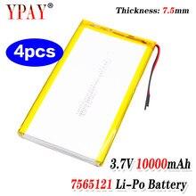XINJ – batterie polymère 3.7V 10000 mAh, 3 fils pour thermistance 7565121, pour GPS, PSP, PAD, ipod, DVD, Portable, Power bank, tablette, PC, 4 pièces
