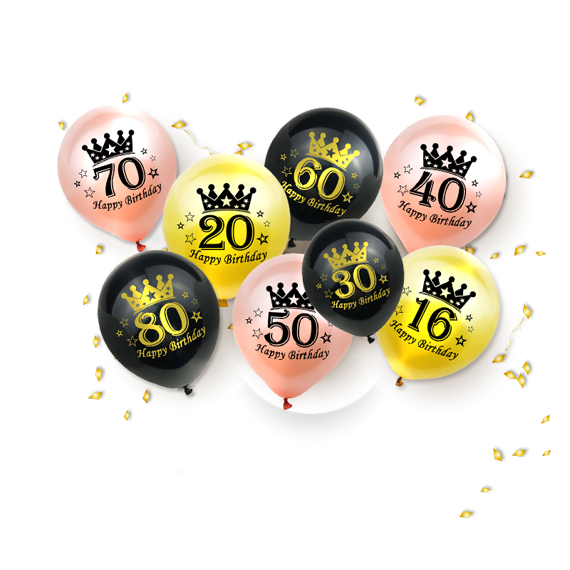 Amawill16th <font><b>20th</b></font> 30th 40th 50th 60th Letter Number Latex Balloons Adult Happy <font><b>Birthday</b></font> Party Rose Gold Helium Ballon Home <font><b>Decor</b></font> image