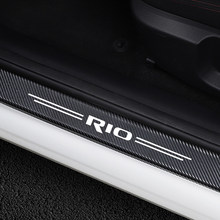 4PCS Car Stickers Door Threshold Guard For Kia Rio 3 4 K2 K3 X-Line Car Door Sill Scuff Plate Pedal Cover Trim Auto Accessories(China)