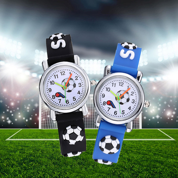 3D Football Silicone Kids Watches Cool Design Cartoon Ball Children Watch Cute Quartz Clock Boy Girl Baby Gift Montre Enfant