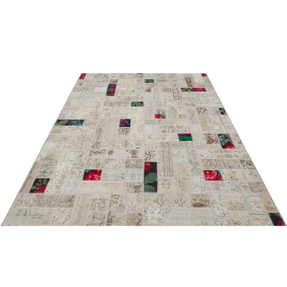 Kitchen Rug, Patchwork Rug Beige Natural Wool Carpet, Handmade Patchwork hhp113