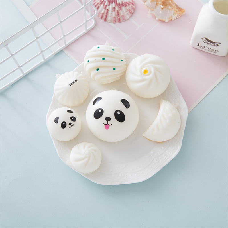 2019 Random Styles 10pcs/lot Fashion Kawaii Cartoon Panda Banana Biscuit Squishies PU Squishy Slow Rising Cream Scented Kids Toy