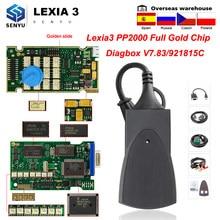 Lexia 3 cheio de ouro chip 921815c pp2000 diagbox v7.83 lexia3 para citroen/peugeot scanner automático lexia obd obd2 carro ferramentas de diagnóstico