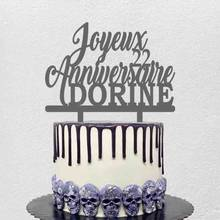 Personnalisé Joyeux Anniversaire en Français Personnalisé Nom Âge Joyeux Anniversaire Pour la France Fête D'anniversaire Décoration De Gâteau Topper