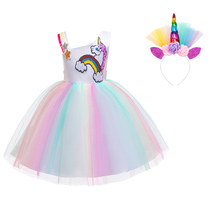 AmzBarley Girls unicorn costume Sequined rainbown colorful Lace Tutu Dress one shouder Ball Gowns Birthday party outfits 3-12 Y