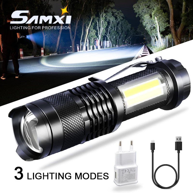 LED Mini Aluminum Power Brightness Flashlight With Built-in Lithium Battery USB Rechargeable Outdoor Zoom Latern Lamp Flashlight(China)