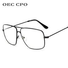 OEC CPO Unisex Oversized Transparent Glasses Frame Women Brand Designer High Quality Metal Eyeglasses O142