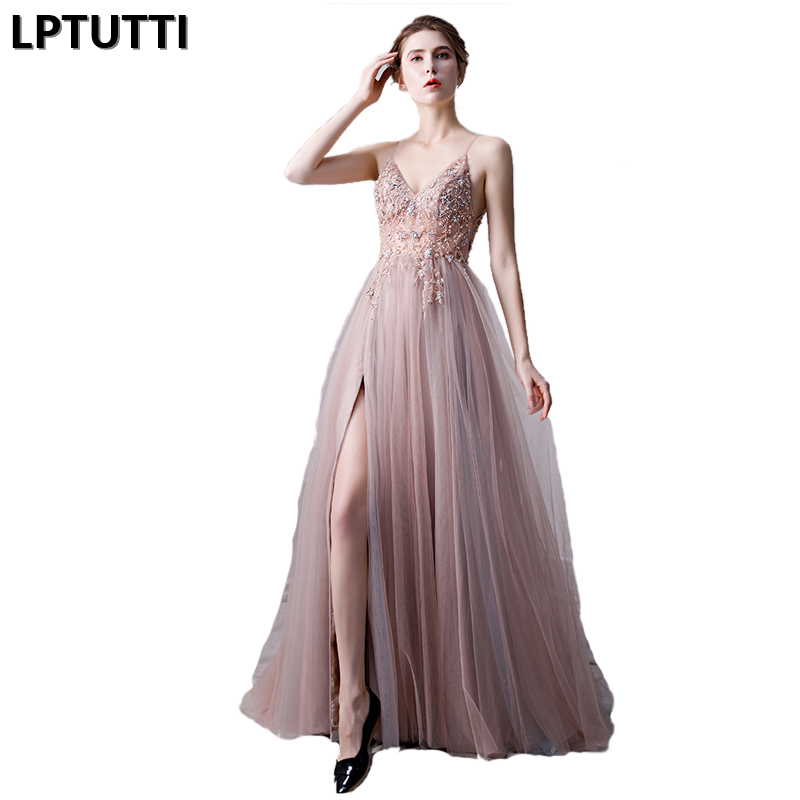 LPTUTTI Beading CRYSTAL New For Women Elegant Date Ceremony Party Prom Gown Formal Gala Events Luxury Long Evening Dresses