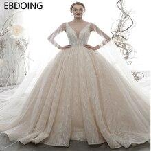 Luksusowa suknia ślubna suknia ślubna Vestidos De Novia królewski tren najnowszy długi Plus rozmiar suknia dla panny młodej suknia ślubna suknia dla panny młodej