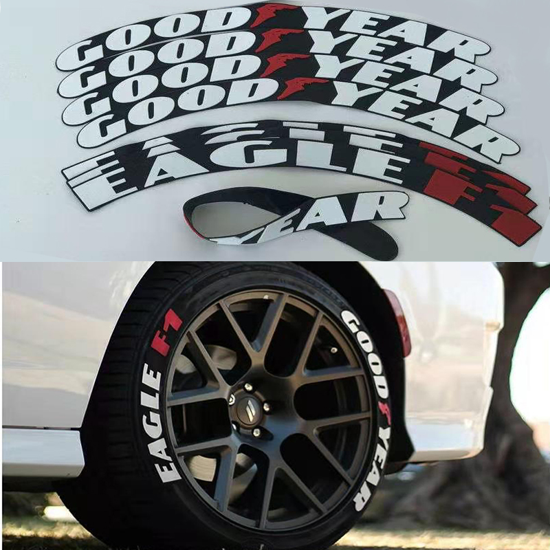 4sets/lot Tire Sticker-Car Tire Sticker Car Tuning Universal 3D Permanent Rubber Conjoined Tire Stickers Letters High Quality